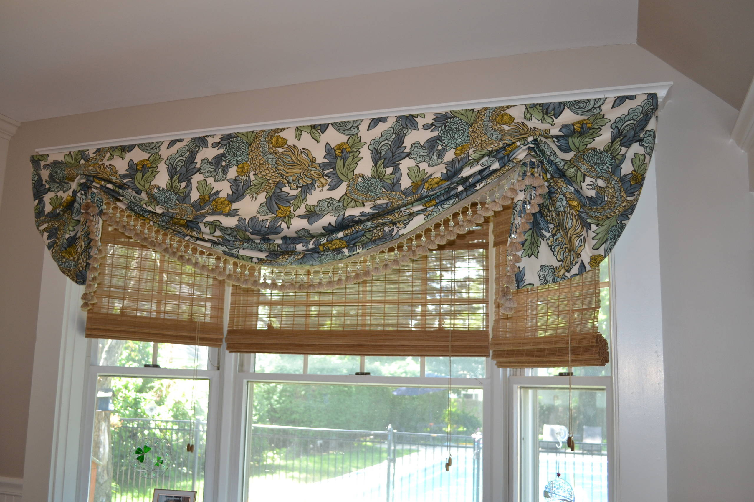 Stationary London Shade Valance on a Bay Window in a Connecticut Kitchen