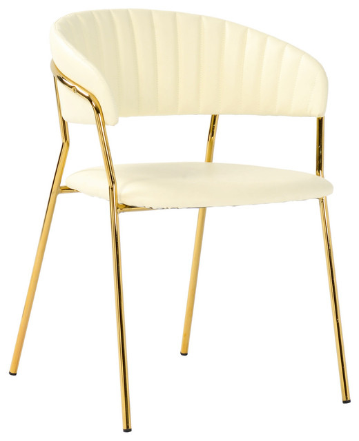 Faux Cream Leather Dining Chair