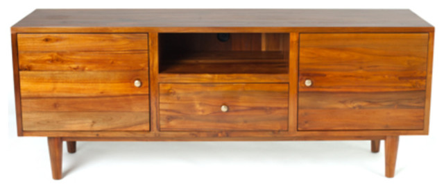 Hayworth Media Cabinet, Natural Honey Color Finish, Solid ...
