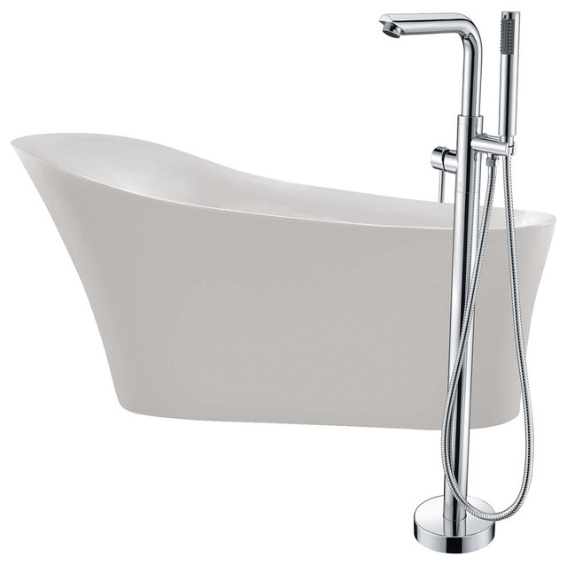 "Maple 67"" Acrylic Flatbottom Bathtub, Sens Faucet, Polished Chrome."