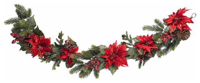 Nearly Natural 60 Poinsettia And Berry Garland.