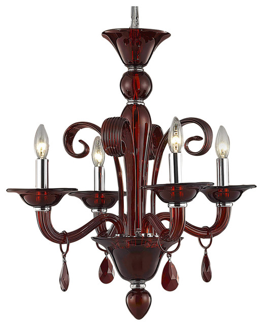 "Red Murano Chandelier: Murano Design 4 Light 22"" Red Chandelier"