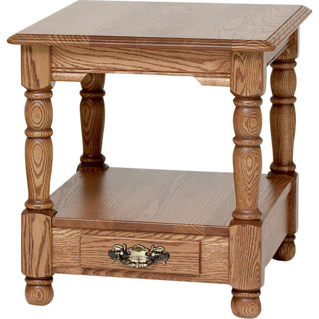 Country Trend Solid Oak End Table With Drawer Autumn