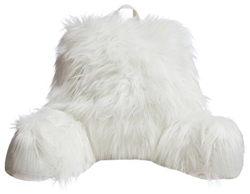 Faux Fur Reading Lounge Pillow, Mongolian White