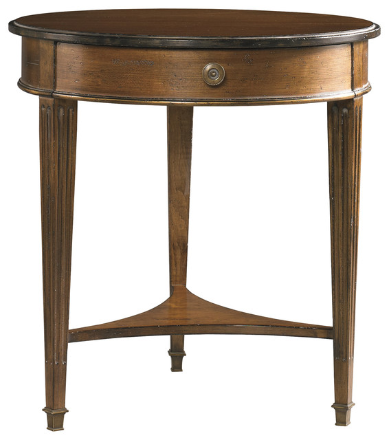 Hickory White Round Lamp Table 703 25 Transitional