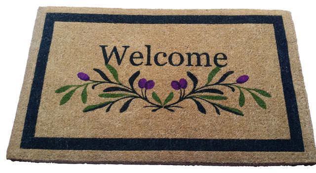 Olive Border Welcome Fiber Mat, 36x60.