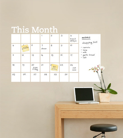 Dry Erase Calendar With Memo Wall Decal Contemporary Wall
