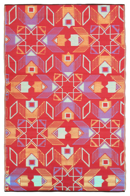 Geometric Indoor/Outdoor Rug, 90x150 Cm Tropical Outdoor Rugs