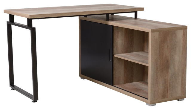 Homestar L Shaped Desk With Sliding Door Bookcase Duo.