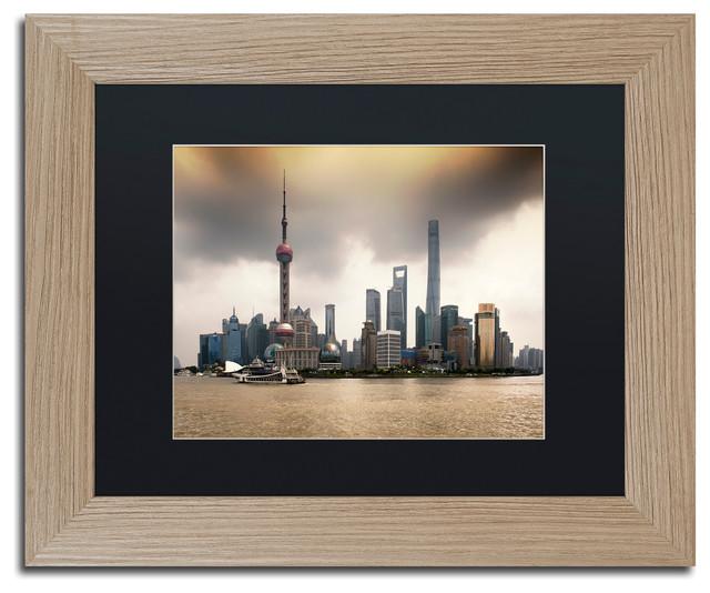 "Philippe Hugonnard 'Oriental Pearl' Art, Birch Frame, Black Matte, 14""x11"""