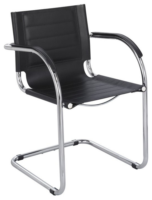 Safco Flaunt Guest Chair Black Leather In Contemporary Office Chairs