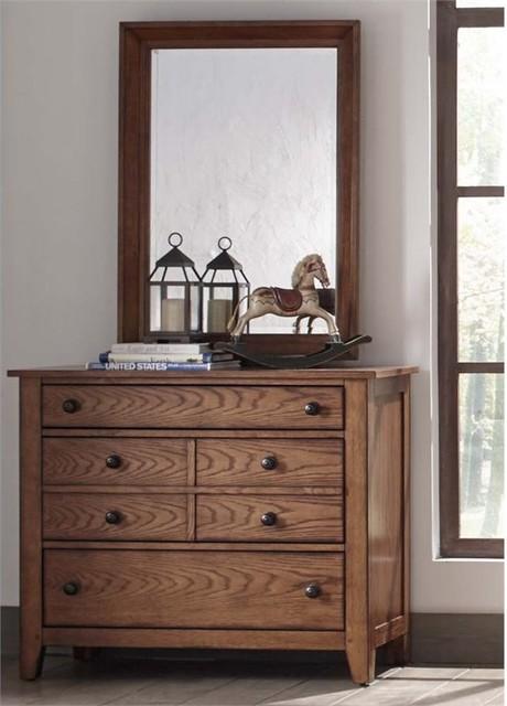 Liberty Furniture Grandpa&x27;s Cabin Dresser And Mirror Set, Aged Oak.