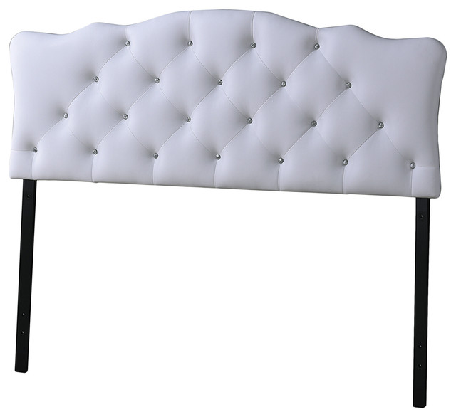 Rita And Full Size White Faux Leather Button-Tufted Scalloped Headboard.