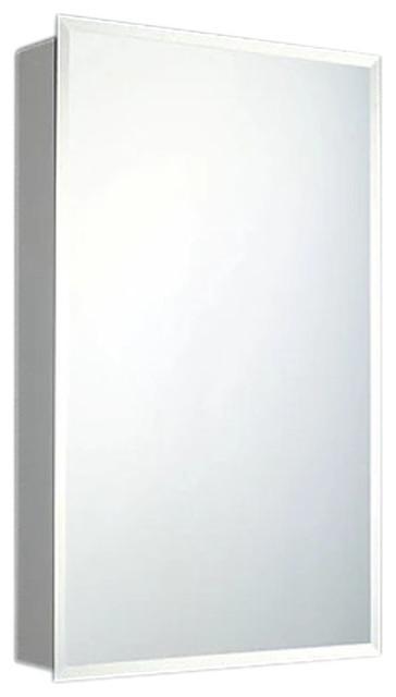 Deluxe Series Single Door Medicine Cabinet Beveled Edge Mirror, Recessed Mount.