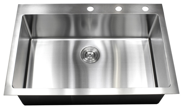 "33"" Drop-In/top-Mount Stainless Steel Single Bowl Kitchen Sink."