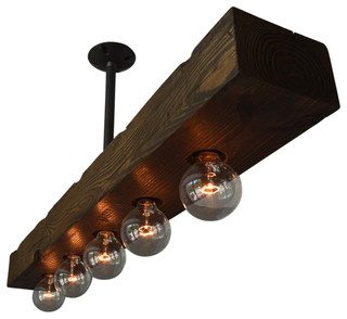 Recessed 5 Light Wood Beam   Rustic   Kitchen Island Lighting   By West  Ninth Vintage