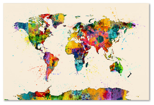"""""""map Of The World Watercolor Ii"""" Canvas Art By Michael Tompsett."""