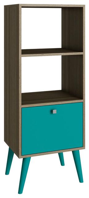Modern Bookcase With Mid-Century Style Wood Legs, Oak Aqua Finish.