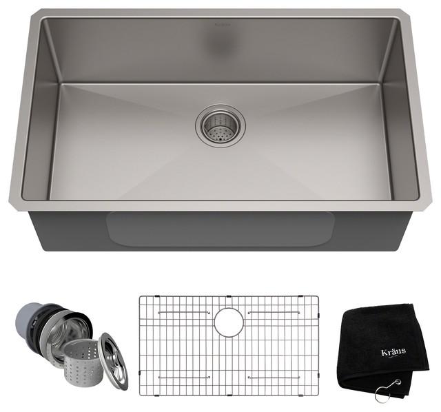 KRAUS Undermount Single Bowl 16 Gauge Stainless Steel Kitchen Sink    Contemporary   Kitchen Sinks   By DirectSinks