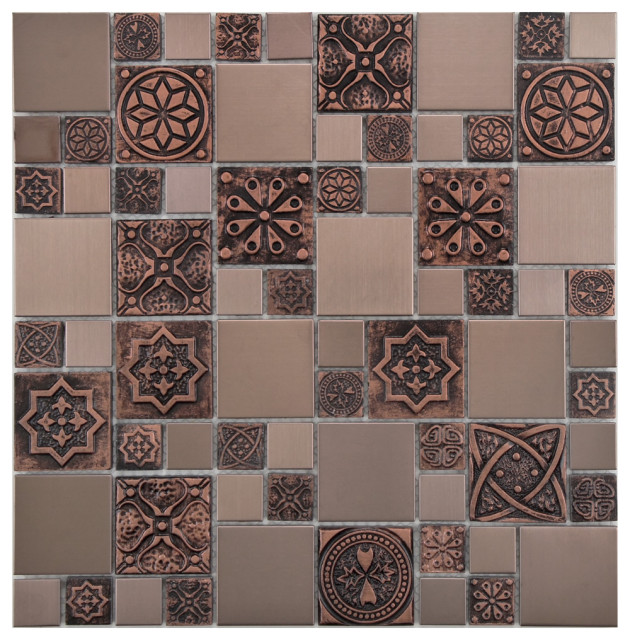 """11.75""""x11.75"""" Anvil Versailles Stainless Steel-Over-Porcelain Tile, Copper Brown"""