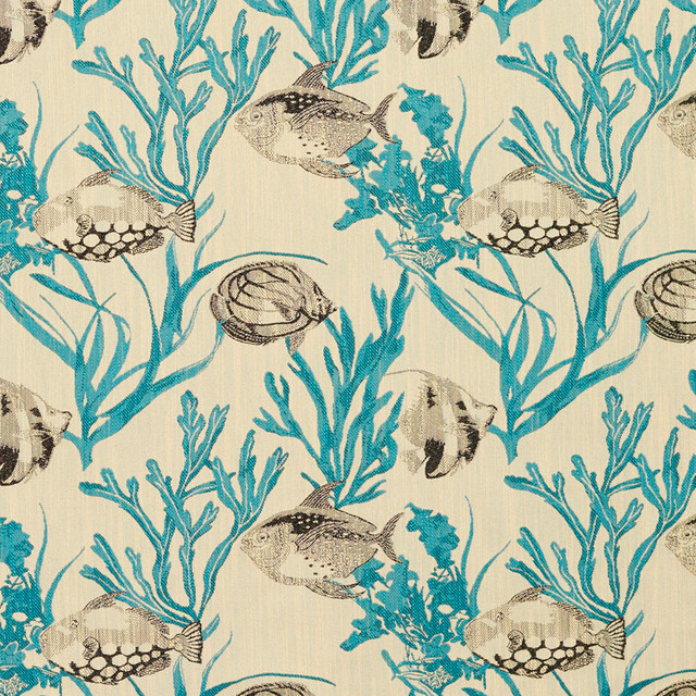 Teal And Grey Fish And Coral Reef Designer Novelty Upholstery Fabric