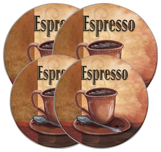 Range Kleen Round Burner Kovers, Set Of 4, La Caffee Espresso