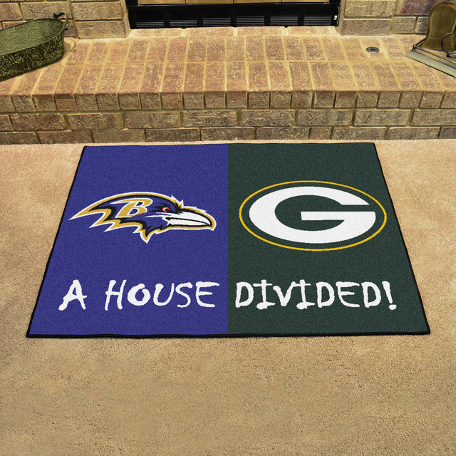0fa0efaa765 NFL Baltimore Ravens and Green Bay Packers House Divided Rugs 33.75
