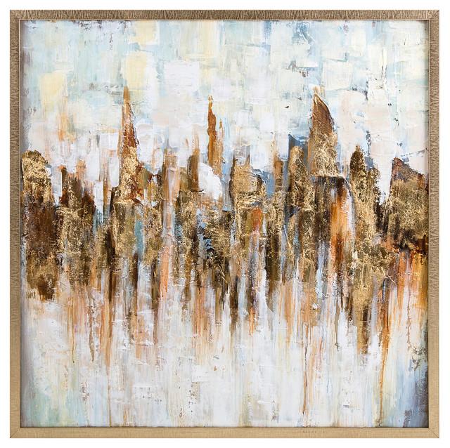 "Katsu Framed Oil Painting, 39""x39.25""."