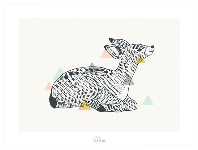 Enchanted Framed Art Print, Deer, 30x40 cm