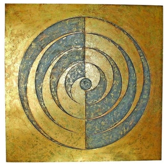 Gold Metal Swirl Spiral Wall Art, Modern Geometric Plaque ...