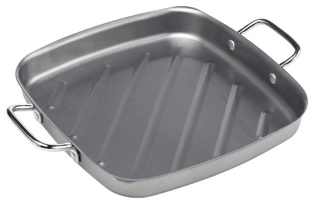 """Non-Stick Square Grill Pan, 11"""", Silver."""