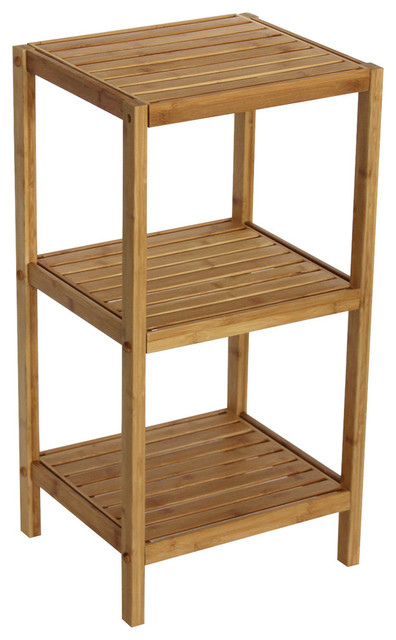 Bamboo Natural Spa 3 Shelf Tower, Natural.