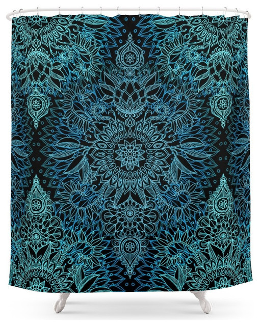 Society6 Black And Aqua Protea Doodle Pattern Shower