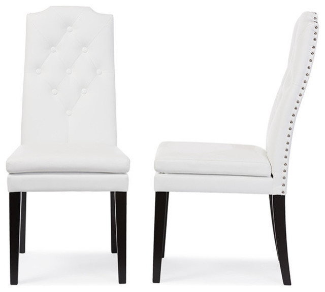 Dylin Faux Leather Button-Tufted Nail Heads Trim Dining Chair, Set Of 2, White.