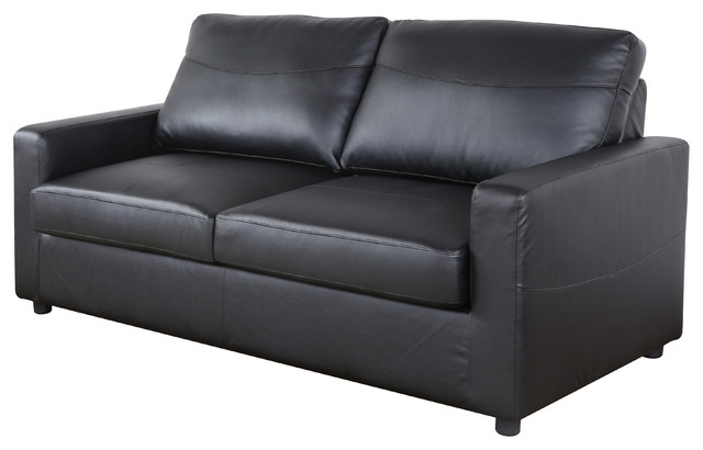 Bonded Leather Living Room Sleeper Pull Out Sofa And Bed Black Modern Sleeper