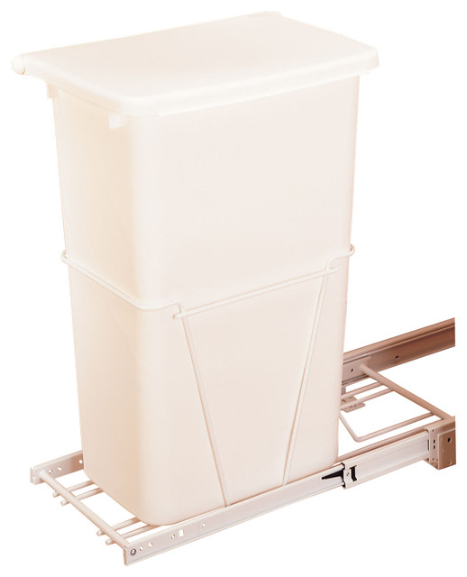Single 50 qt pull out white waste container with 3 4 for Extension container