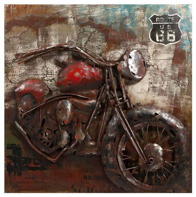 Metal Motorcycle Wall Art.Motorcycle Dimensional Metal Art