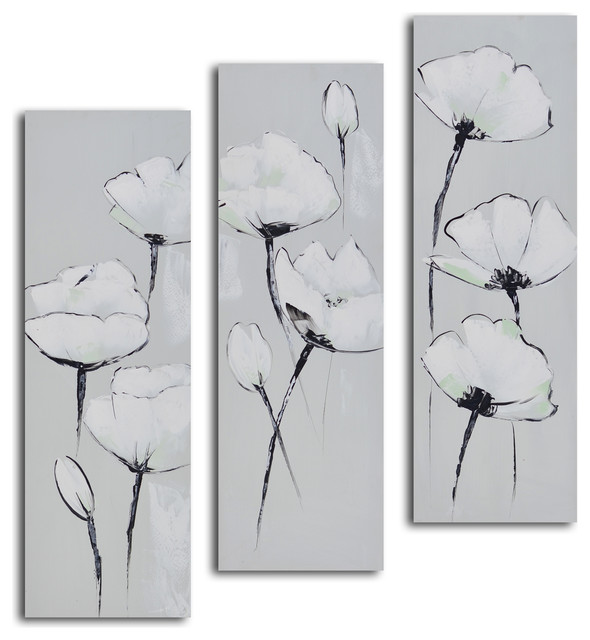 Grey And White Wall Art poppies hand painted 3 piece canvas set - transitional - paintings
