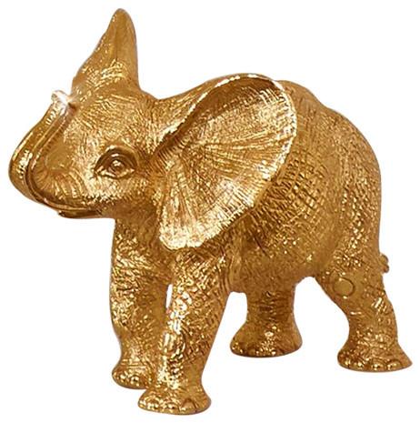 Jay Strongwater Effie Elephant Figurine, Gold Finish