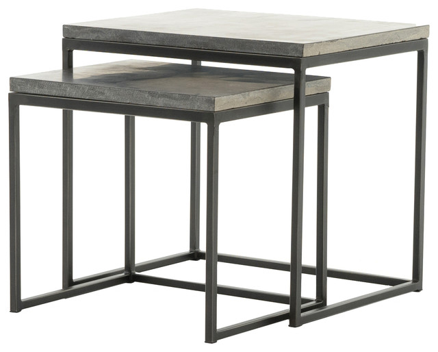 Hughes Harlow Nesting End Tables Industrial Coffee Table Sets