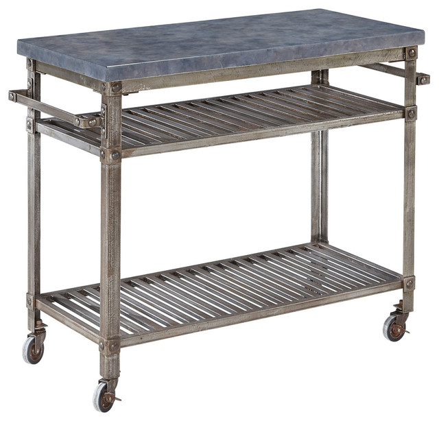 Damaris Metal Kitchen Cart, Denim Industrial Kitchen Islands And Kitchen