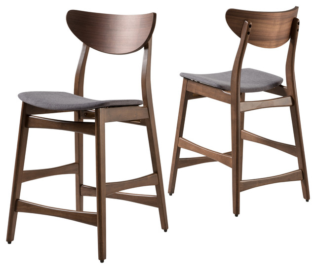 Molle Mid-Century Design Counter Stools, Set Of 2, Gray/walnut.
