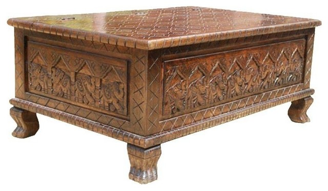 New Delhi Elephant Hand Carved Oak Chest Coffee Table