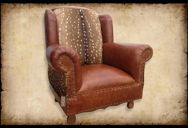 Attractive Cowboy Living Room Chair With Axis Deer Hide Southwestern