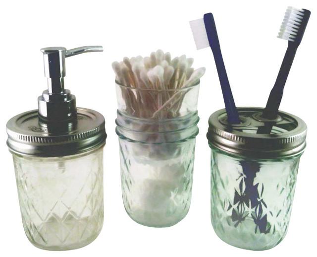 mason jar bathroom set. Half Pint Quilted Mason Jar Bath Set traditional bathroom accessory sets  Traditional Bathroom