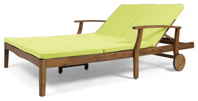 Gdf Studio Samantha Outdoor Acacia Wood Double Chaise Lounge Teak Finish Green