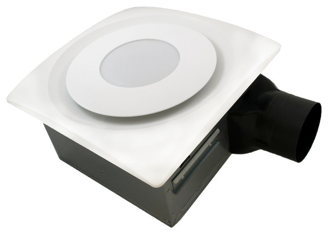 Slim Fit Bath Fan With LED And Humidity Sensor, White, 120 Cfm