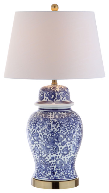 "Ellis 29.5"" Ceramic Table Lamp, Brass Gold."