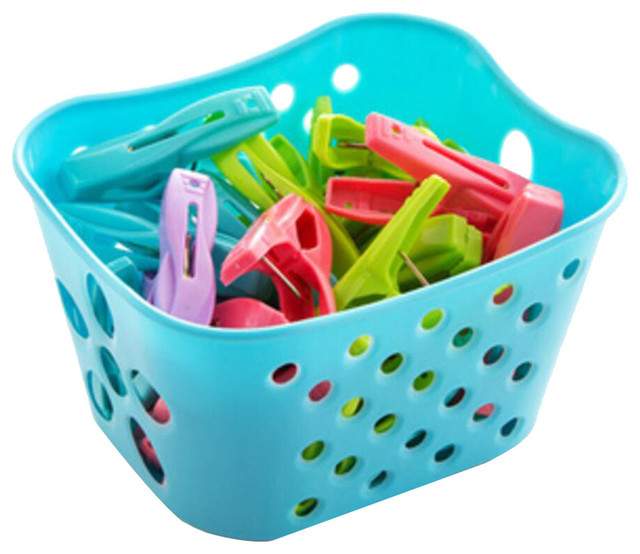 30 PCS Laundry Clothespin Clothes Hanger Lines Clips With Basket Drying Rack Pin