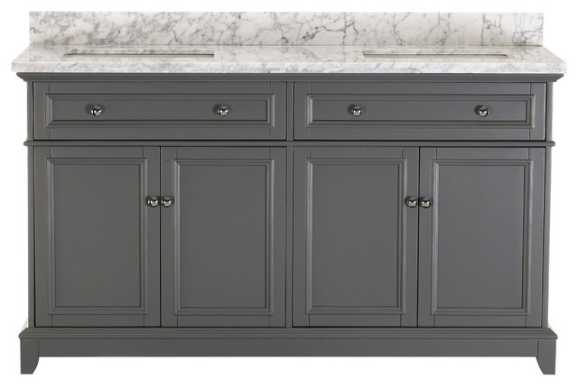 Kennon Gray Bathroom Vanity With Marble Top, 60.